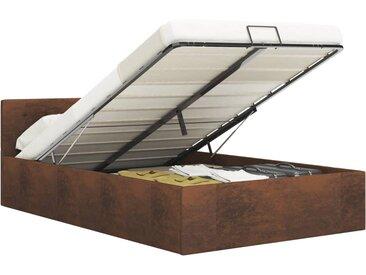 Cadre de lit à rangement hydraulique Marron Tissu 180x200 cm - vidaXL
