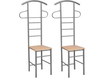 Chaise valet de nuit bois et métal design unique (lot de 2) - vidaXL