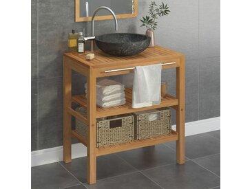 Armoire de toilette Teck solide avec lavabo en marbre Noir - vidaXL