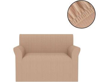 Housse de canapé extensible Larges rayures Beige - vidaXL