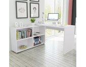 Bureau d'angle 4 étagères blanc - vidaXL
