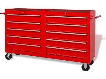 Chariot à outils pour atelier 10 tiroirs Taille XXL Acier Rouge - vidaXL