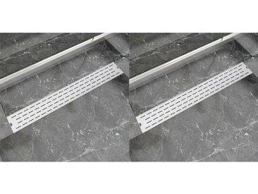 Drain de douche linéaire 2 pc Ligne 830x140 mm Acier inoxydable - vidaXL