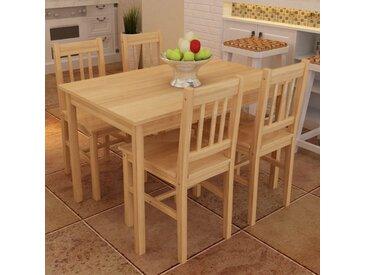 Table de salle à manger en bois avec 4 chaises Naturel - vidaXL