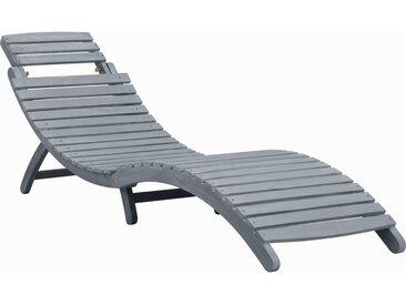 Chaise longue Délavage gris Bois d'acacia solide - vidaXL