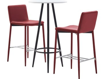 Ensemble de bar 3 pcs Similicuir Rouge bordeaux - vidaXL