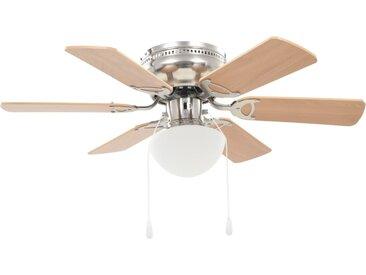 Ventilateur de plafond orné avec lumière 82 cm Marron clair - vidaXL