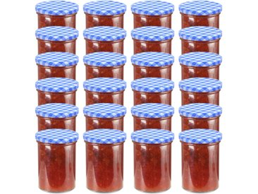 24 pcs Pots à confiture Couvercle blanc et bleu Verre 400 ml - vidaXL