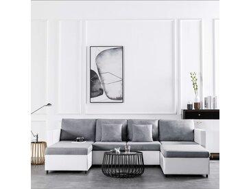 Canapé-lit extensible à 4 places Similicuir Blanc - vidaXL