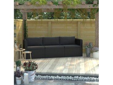 Canapés de jardin 3 pcs avec coussins Résine tressée Noir - vidaXL