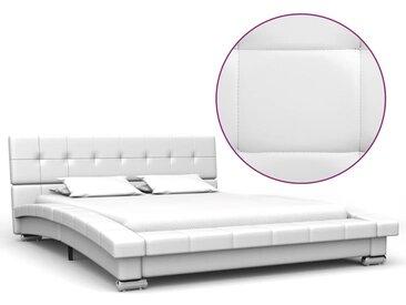 Cadre de lit Blanc Similicuir 200 x 120 cm - vidaXL