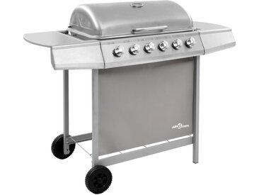 Barbecue gril à gaz avec 6 brûleurs Argenté - vidaXL