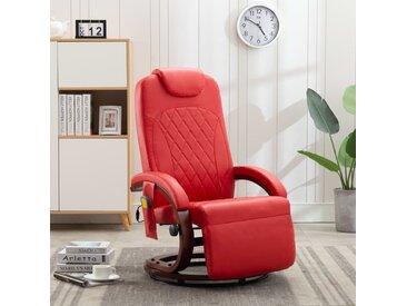 Fauteuil de massage TV Rouge Similicuir - vidaXL