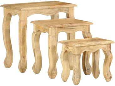 Ensemble de tables gigognes 3 pcs Bois massif de manguier  - vidaXL
