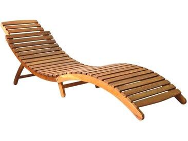 Chaise longue Bois d'acacia solide Marron - vidaXL