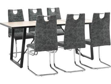 Ensemble de salle à manger 7 pcs Noir Similicuir - vidaXL