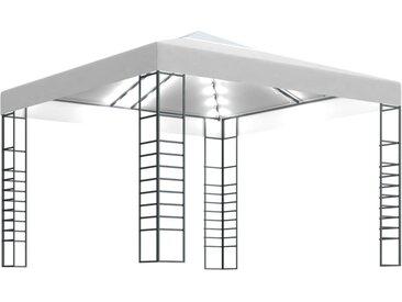 Chapiteau de jardin avec guirlande lumineuse 3x3 m Blanc - vidaXL
