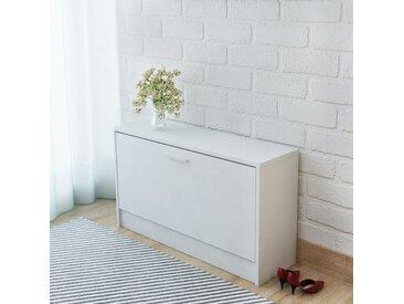 Banc à chaussures 80 x 24 x 45 cm Blanc - vidaXL