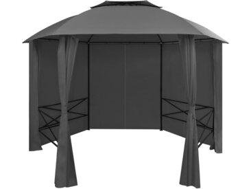 Chapiteau tente de jardin avec rideaux Hexagonal 360 x 265 cm - vidaXL