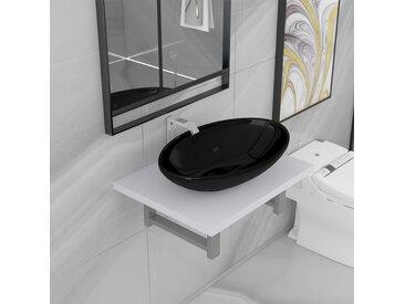 Meuble de salle de bain en deux pièces Céramique Blanc - vidaXL