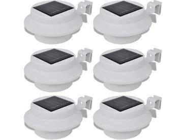 Lampes solaires 6 pcs pour clôture gouttière Blanc - vidaXL