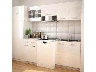 Ensemble d'armoires de cuisine 5 pcs avec hotte Blanc brillant - vidaXL