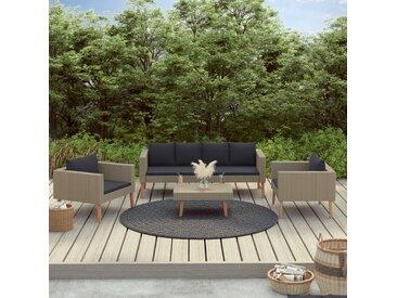 Salon de jardin 4 pcs avec coussins Résine tressée Beige - vidaXL