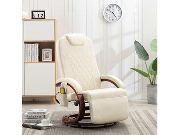 Fauteuil de massage TV Blanc crème Similicuir - vidaXL