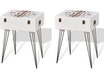 Tables de chevet 2 pcs 40x30x57 cm Blanc - vidaXL