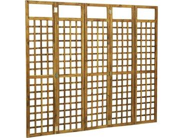 Cloison de séparation à 5 panneaux Acacia solide 200 x 170 cm - vidaXL