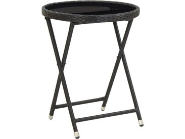Table à thé Noir 60 cm Résine tressée et verre trempé - vidaXL
