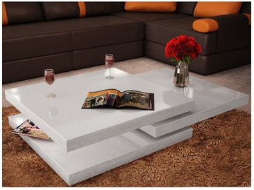 Table basse 3 étagères Blanc brillant  - vidaXL