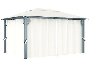 Belvédère avec rideau 400 x 300 cm Crème - vidaXL
