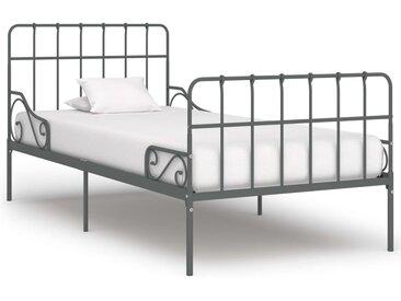 Cadre de lit et sommier à lattes Gris Métal 90 x 200 cm - vidaXL
