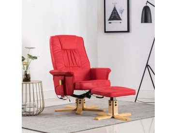 Fauteuil de massage avec repose-pieds Rouge Similicuir - vidaXL