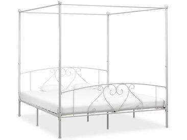 Cadre de lit à baldaquin Blanc Métal 200 x 200 cm - vidaXL