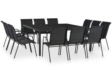 Mobilier de salle à manger d'extérieur 13 pc Acier Noir - vidaXL