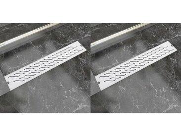 Drain de douche linéaire 2 pcs 630 x 140 mm Acier inoxydable - vidaXL