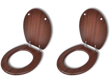 Sièges de toilette avec couvercles 2 pcs MDF Marron - vidaXL