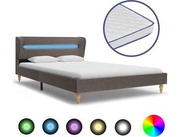 Lit à LED et matelas à mémoire de forme Taupe Tissu 120x200 cm - vidaXL