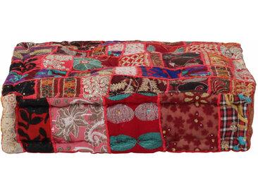 Pouf carré en coton fait à la main 50 x 50 x 12 cm Rouge - vidaXL