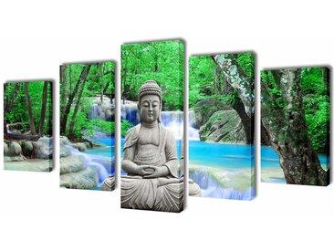 Set de toiles murales imprimées Bouddha 100 x 50 cm - vidaXL