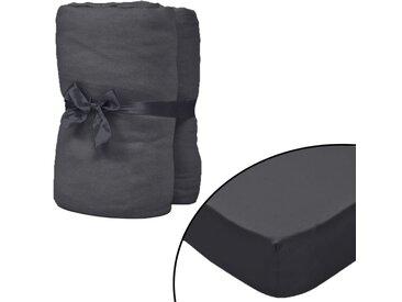 Drap-housse pour lit à eau 2pcs 1,8x2 m Coton jersey Anthracite - vidaXL