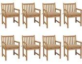 Chaises de jardin 8 pcs avec coussins beige Bois de teck solide - vidaXL