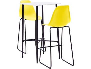 Ensemble de bar 3 pcs Plastique Jaune - vidaXL