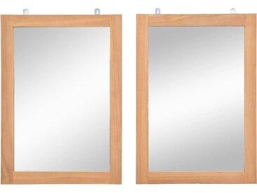 Miroir mural 2 pcs Teck massif 50 x 70 cm - vidaXL