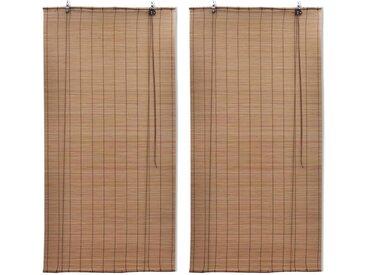 Stores roulants en bambou 2 pcs Marron 120x220 cm - vidaXL