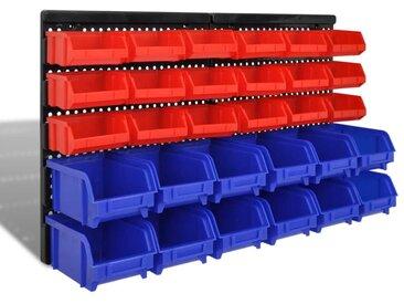 Jeu de paniers muraux de stockage Plastique 30pcs Bleu et rouge - vidaXL