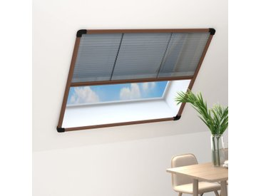 Moustiquaire plissée pour fenêtre Aluminium Marron 100x130 cm - vidaXL