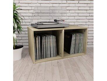 Boîte de rangement de vinyles Chêne sonoma 71x34x36cm Aggloméré    - vidaXL